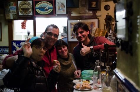 Con Moncho, Susana y Alfredo en el Xampanyet