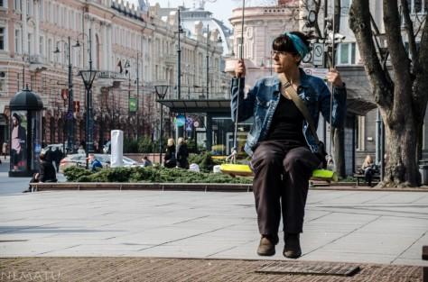 Disfrutando en la plaza