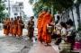 Ceremonia de entrega de limosnas en Luang Prabang.