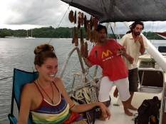 Con María y Manu en su velereo..